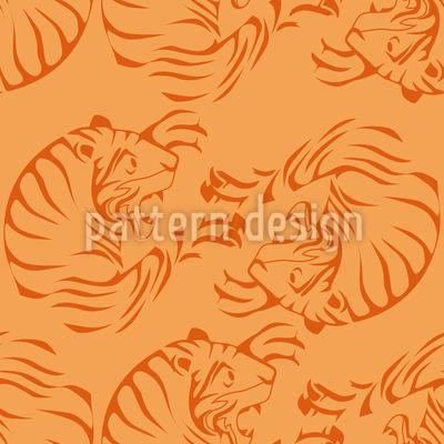 Orange Tigers Vector Pattern