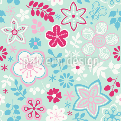 Girl In The Garden Pattern Design