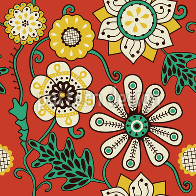 Blumenkinder Der Siebziger Nahtloses Vektor Muster