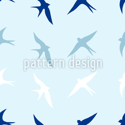 Swallows In The Sky Vector Pattern
