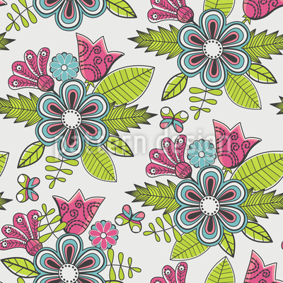 Sweet Flower Bouquet Vector Pattern