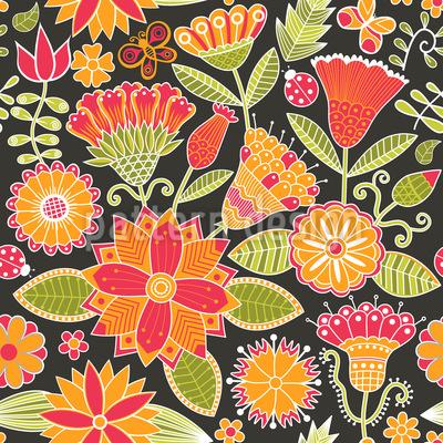 Fröhliche Garten Folklore Musterdesign
