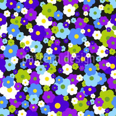 Flower Dream In A Retro Dress Seamless Vector Pattern