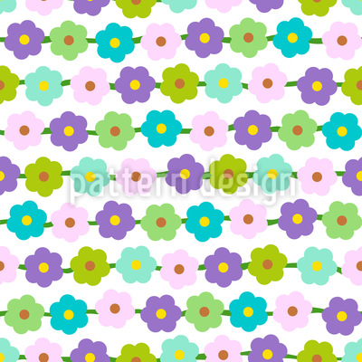 Flower Chains Seamless Vector Pattern