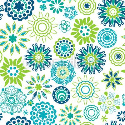 Frühlingsfrische Retro Blumen Rapportmuster