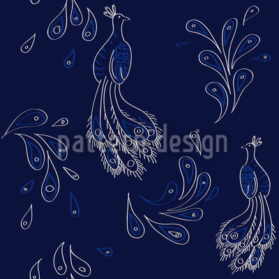 Peacock on Blue Repeat Pattern