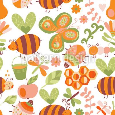 Honigsüsse Bienchen Nahtloses Muster