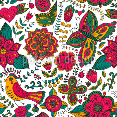 Fauna And Flora In Summer Vector Pattern