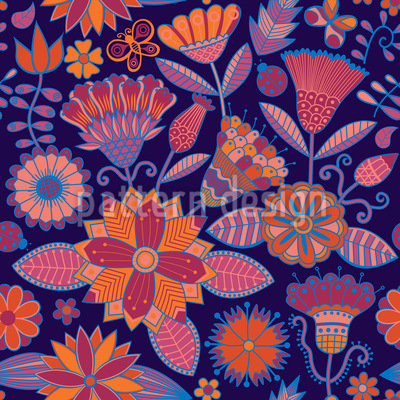 Garden Folklore At Night Design Pattern