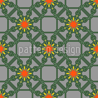 Floral Wire Fence Seamless Vector Pattern