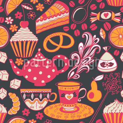 Coffee Party At Tiffanys Seamless Vector Pattern
