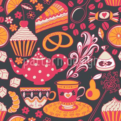 Kaffeeklatsch Bei Tiffany Nahtloses Vektor Muster