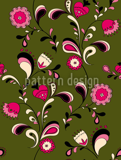 Folk Flowers Seamless Vector Pattern