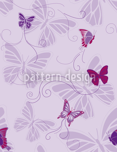 Butterflies On Violet Vector Pattern