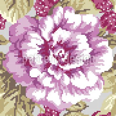 Rosen Und Himbeeren Vektor Muster