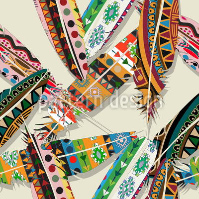 Ethno Feathers Repeating Pattern