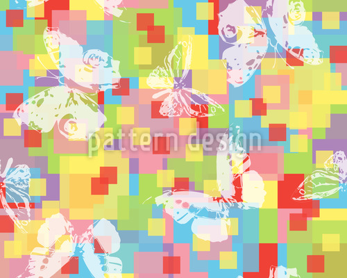 Check With Butterflies Seamless Vector Pattern