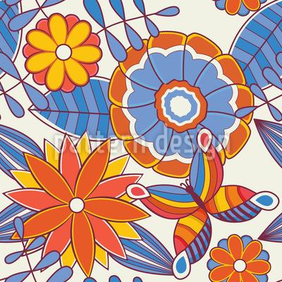 Sommerfrischer Blumengarten Nahtloses Muster