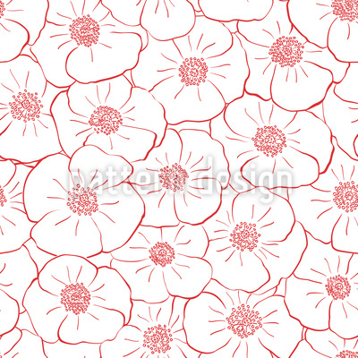 Poppy Flowers Everywhere Repeat Pattern