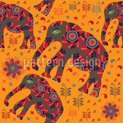 Indian Elephant Mountain Hike Vector Pattern