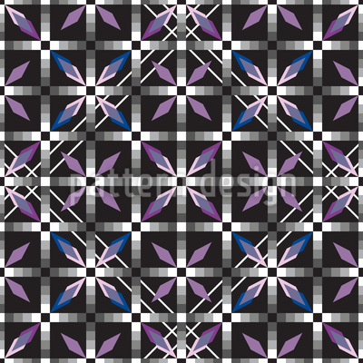 Crystal Tiles Glow At Night Vector Ornament