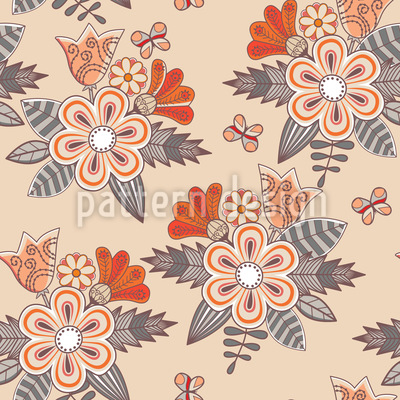 Midsummer Flowers Vector Pattern