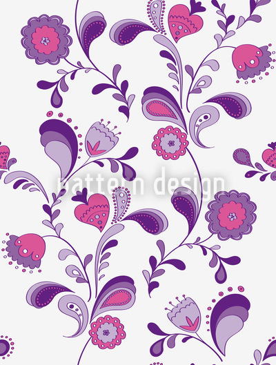 Flowers From The Seventies Vector Pattern