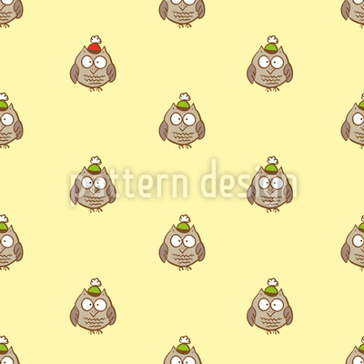 Funny Cartoon Owls Repeating Pattern