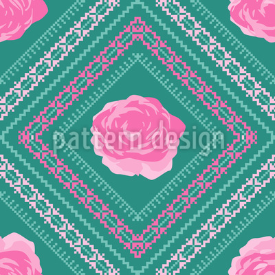 Pixel Im Rosengarten Nahtloses Muster