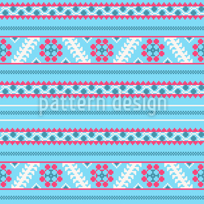 Pixel Winter In Latvia Seamless Vector Pattern