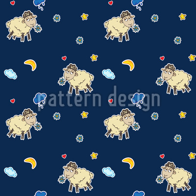 Wondrous Sheep Dreams Seamless Pattern