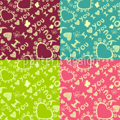 The Patchwork Of Love Seamless Vector Pattern