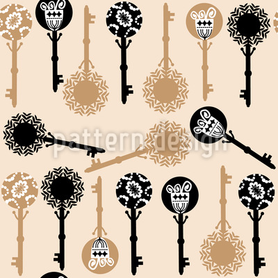 Key Flower Elegance Vector Ornament