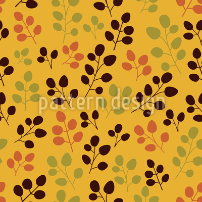 Autumn Foliage On Gold Design Pattern