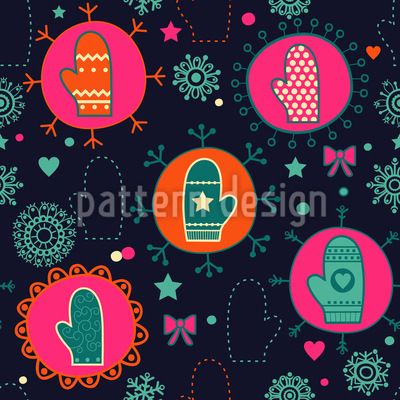 Festive Mittens Vector Ornament