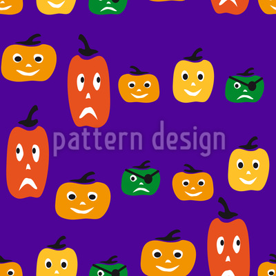 Halloween Pumpkin Heads Seamless Pattern