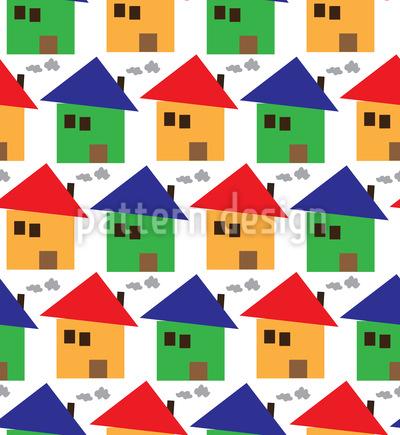 Freundliche Häuser Nahtloses Vektor Muster