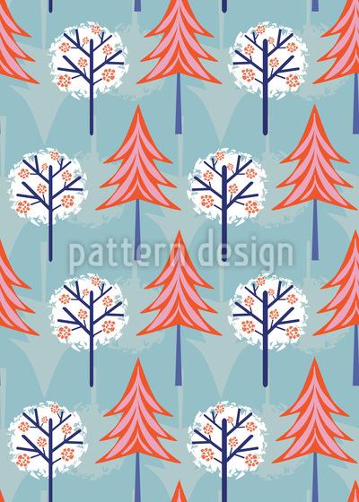 Snow Trees Vector Pattern