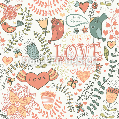 Be My Valentine Sweet Bird Pattern Design