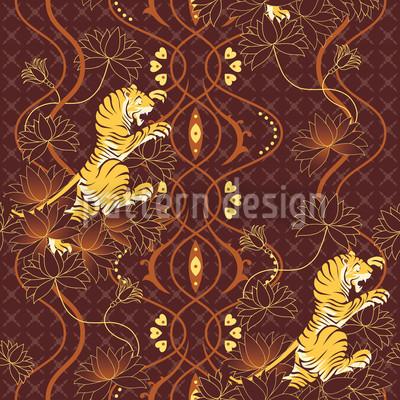 Lotus Tiger Nahtloses Vektor Muster