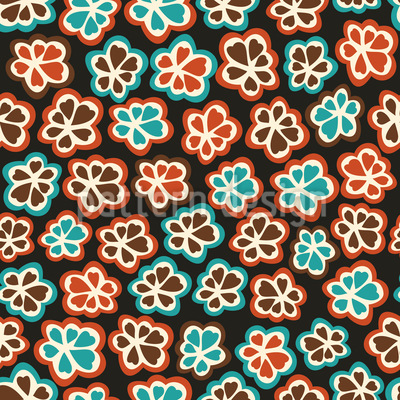 Little Retro Flowers Repeating Pattern