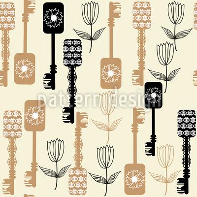 Schlüssel Und Blumen Vektor Muster