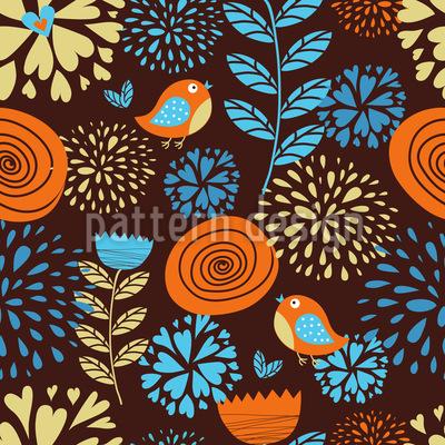 Die Herbstfreuden Der Kleinen Vögel Muster Design