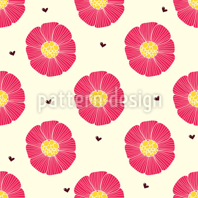 Chocolate Heart And Flower Seamless Vector Pattern