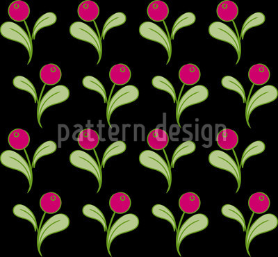 Folk Flowers on Black Pattern Design