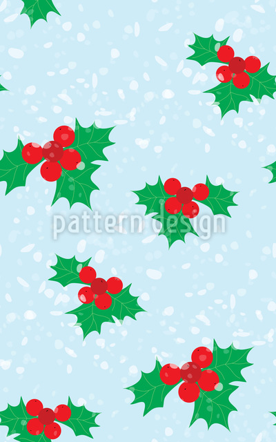 Winterly Holly Seamless Vector Pattern