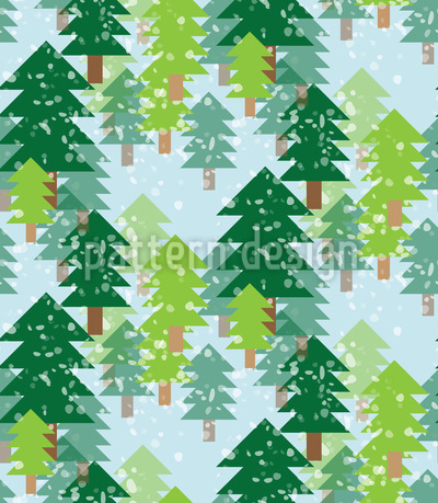 It Is Snowing In The Fir Forest Pattern Design