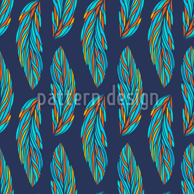 Feather Leaves At Night Vector Ornament
