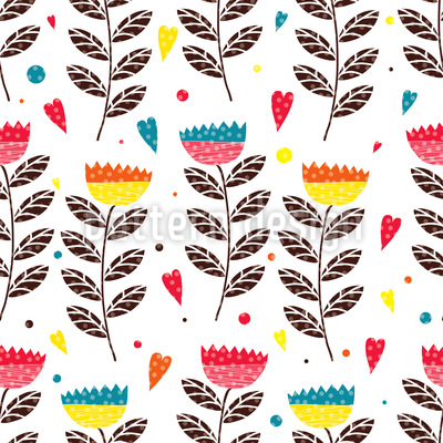 In Julias Flower Garden Seamless Pattern