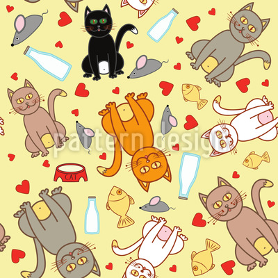 We Love Cats Vector Pattern